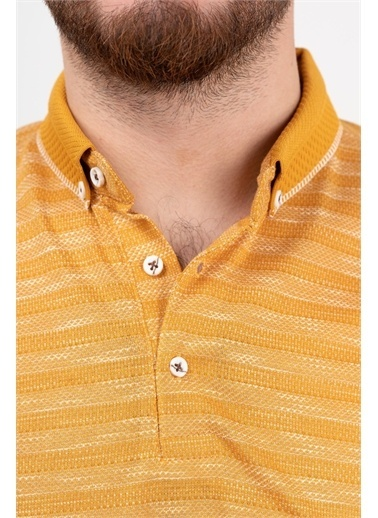 Deri Effect Deri Effect Hardal Örgü Desenli Slim Fit Polo Yaka T-Shirt Lacivert